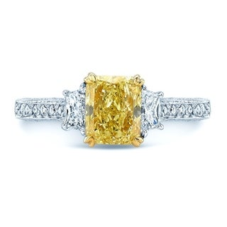 Link to Platinum & 18K Yellow Gold Radiant Cut Fancy Yellow Diamond (2.18 ct. t.w) Engagement Ring, Size 6.5 Similar Items in One-of-a-Kind Jewelry