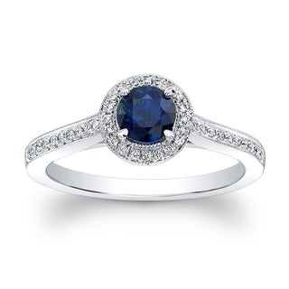 Sapphire & Diamond Round Halo Millgrained Ring With Pave Shank In 14k White Gold, Size 7