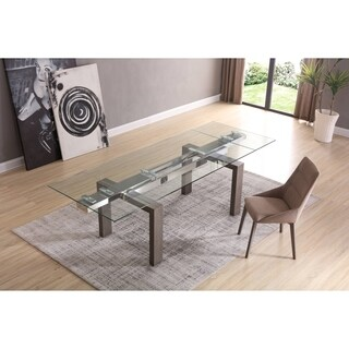 Davy Oak/Glass Extendable Dining Table