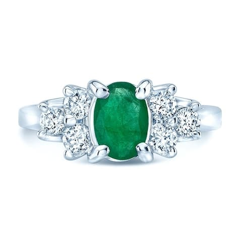 18K White Gold Emerald and Round Cut Diamond (0.43 ct. t.w) Statement Ring, Size 6
