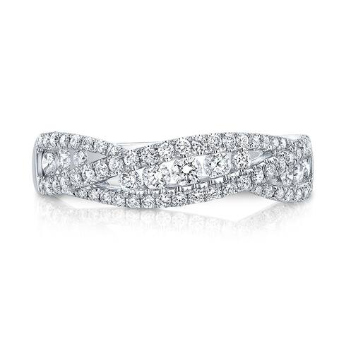 Diamond Pave & Channel-Set Open Weave Band In 14k White Gold, Size 7