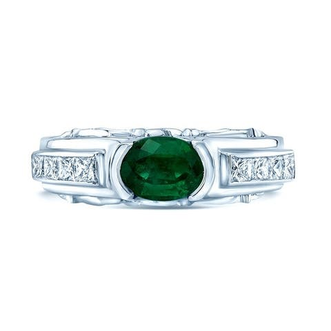 18K White Gold Emerald and Princess Cut Diamond (0.55 ct. t.w) Statement Ring, Size 5.5