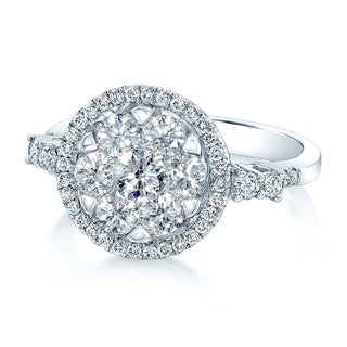 14K White Gold Round Cut Diamond (1.17 ct. t.w) Halo Engagement Ring, Size 7