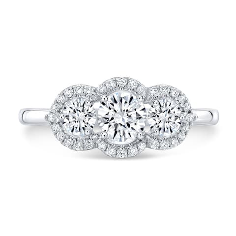 3-Stone Diamond Halo Engagement Ring in 14k White Gold (3/4 ct. t.w.), Size 7