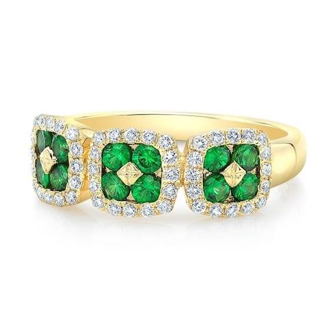 Tsavorite & Diamond 3-Stone Inspired Ring In 14k Yellow Gold, Size 7
