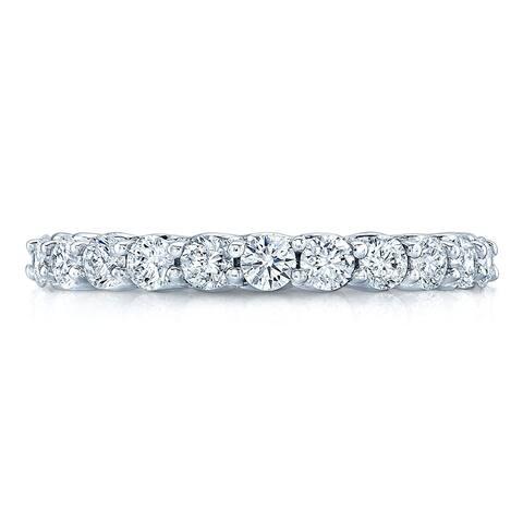 14K White Gold Round Cut Diamond (0.73 ct. t.w) Wedding Band, Size 7