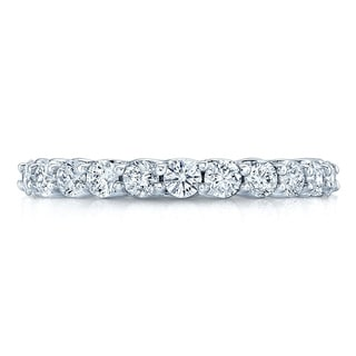 14K White Gold Round Cut Diamond 0 73 Ct T W Wedding Band Size 7