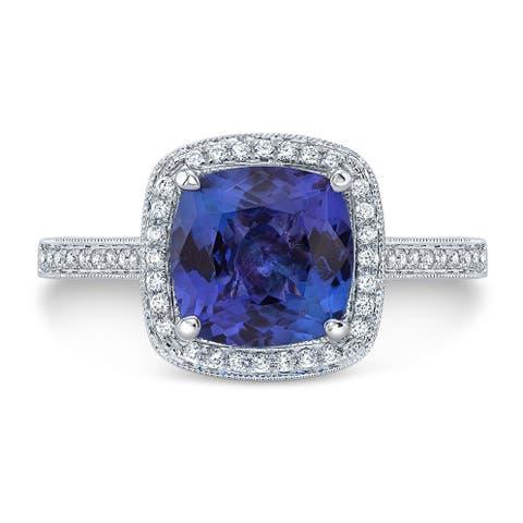 Tanzanite & Diamond Cushion Halo Slim Shank Ring In 14k White Gold, Size 7