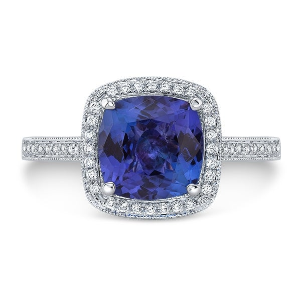 Tanzanite & Diamond Cushion Halo Slim Shank Ring In 14k White Gold, Size 7