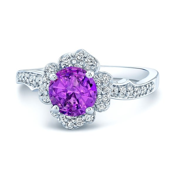 14K White Gold Pink Sapphire and Round Cut Diamond (0.35 ct. t.w) Halo Statement Ring, Size 7