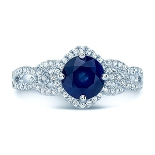 Round Blue Sapphire & Diamond Twisted Halo Ring In 14k White Gold ( Hi/Si) (6.5mm), Size 7