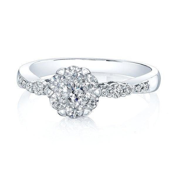 14K White Gold Round Cut Diamond (0.5 ct. t.w) Engagement Ring, Size 7