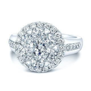 14K White Gold Round Cut Diamond (1.23 ct. t.w) Halo Engagement Ring, Size 7