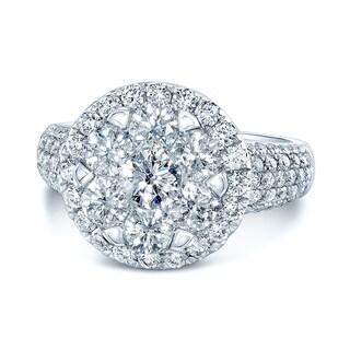 14K White Gold Round Cut Diamond (2.48 ct. t.w) Halo Engagement Ring, Size 7