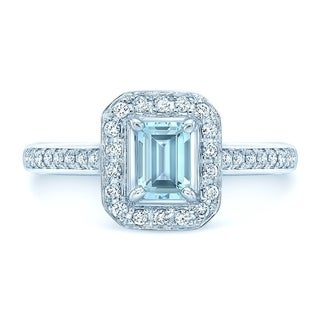 14K White Gold Aquamarine and Round Cut Diamond (0.32 ct. t.w) Statement Ring, Size 7