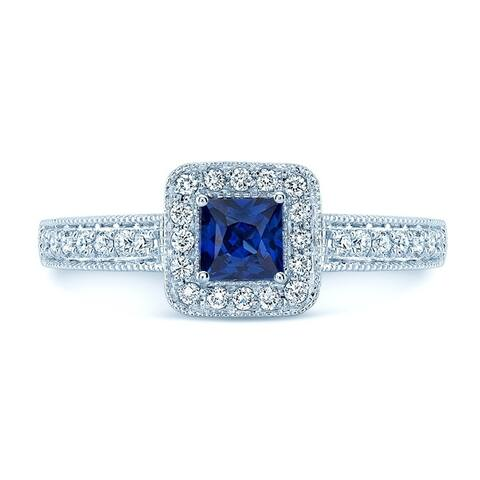 Square Blue Sapphire & Diamond Vintage Halo Ring In 14k White Gold, Size 7