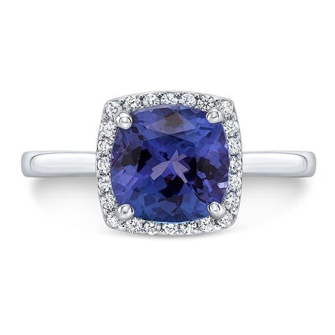 Tanzanite & Diamond Cushion Halo Ring In 14k White Gold, Size 7