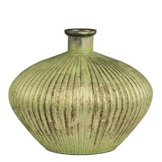 Short Necked Vase With Shiny Metalic Green Finish,  12x10 inches