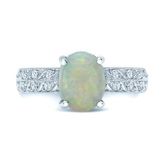 18K White Gold Opal and Round Cut Diamond (0.4 ct. t.w) Statement Ring, Size 7