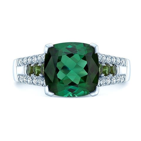 14K White Gold Green Tourmaline and Round Cut Diamond (0.24 ct. t.w) Statement Ring, Size 7
