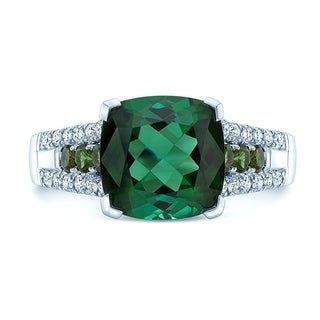14K White Gold Green Tourmaline and Round Cut Diamond (0.24 ct. t.w) Statement Ring, Size 7