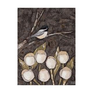Jade Reynolds 'Chickadee And Tulips I' Canvas Art