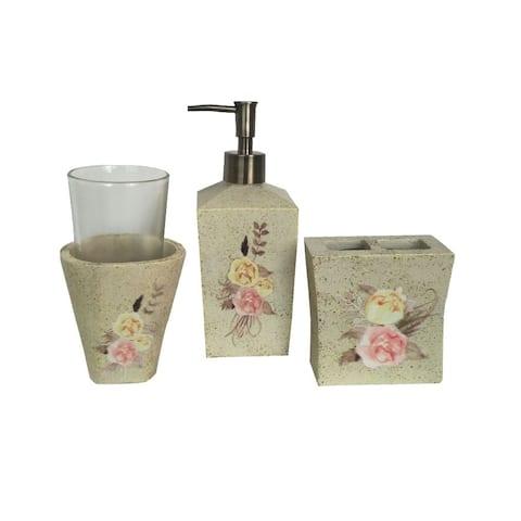 HiEnd Accents Rose Floral 3 Piece Bath Accessory Set