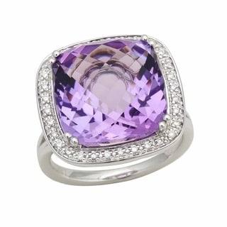 Amethyst & Diamond Halo Statement Ring In 14k White Gold, Size 7