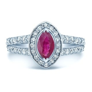 Ruby & Diamond Marquise Halo Ring With Split Shank In 14k White Gold (7/8 ct. t.w.), Size 7