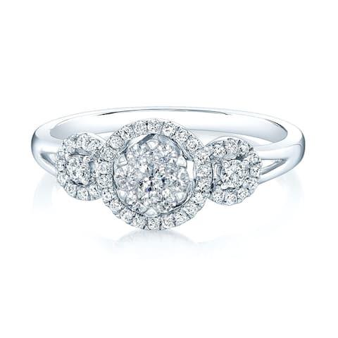 14K White Gold Round Cut Diamond (0.33 ct. t.w) Halo Engagement Ring, Size 7