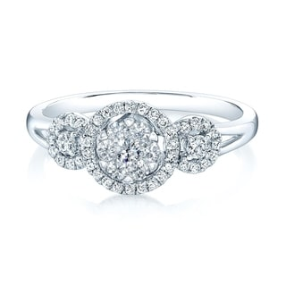 14K White Gold Round Cut Diamond (0.33 ct. t.w) Halo Engagement Ring, Size 7