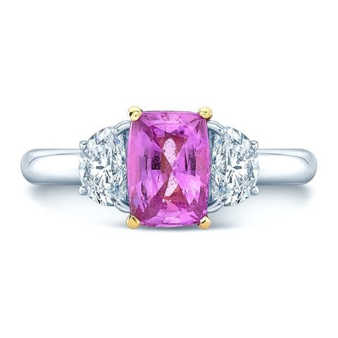 Platinum & 18K Yellow Gold Pink Sapphire and Half Moon Cut Diamond (0.63 ct. t.w) Three Stone Statement Ring, Size 7