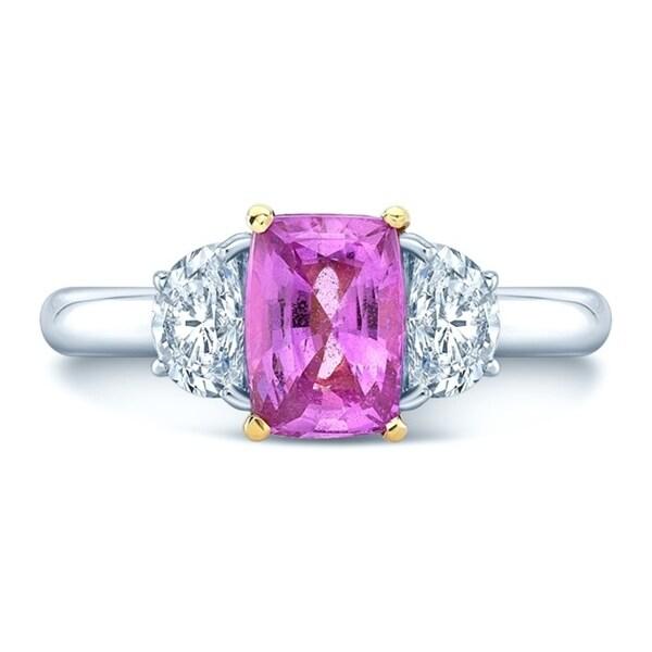 Platinum & 18K Yellow Gold Pink Sapphire and Half Moon Cut Diamond (0.63 ct. t.w) Three Stone Statement Ring, Size 7
