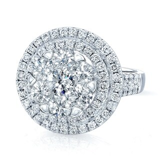 14K White Gold Round Cut Diamond (2.56 ct. t.w) Engagement Ring, Size 7