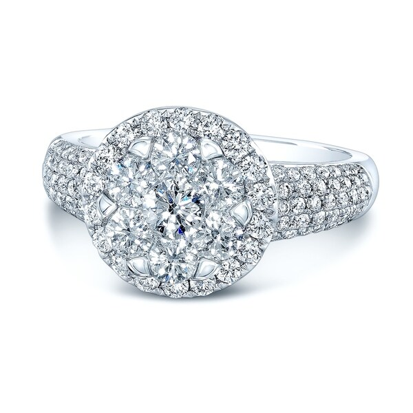 14K White Gold Round Cut Diamond (1.48 ct. t.w) Halo Engagement Ring, Size 7