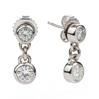 Charles & Colvard Sterling Silver 1ct DEW Forever Classic Moissanite Two Stone Dangle Earrings