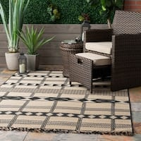 The Curated Nomad Brannan Ivory Casual Modern Striped Aztec Indoor/Outdoor Tassel Area Rug