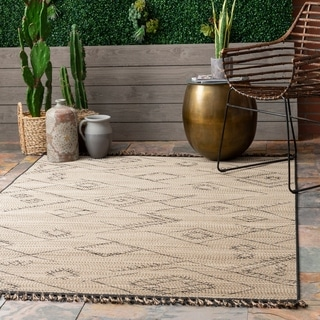 The Curated Nomad Brannan Ivory Casual Contemporary Rustic Indoor/Outdoor Tassel Area Rug
