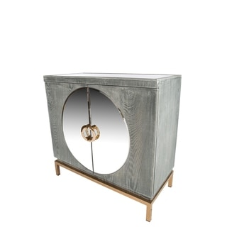 Statements By J Darrius Goldtone/Grey Wood/Glass 32.5-inch Accent Cabinet