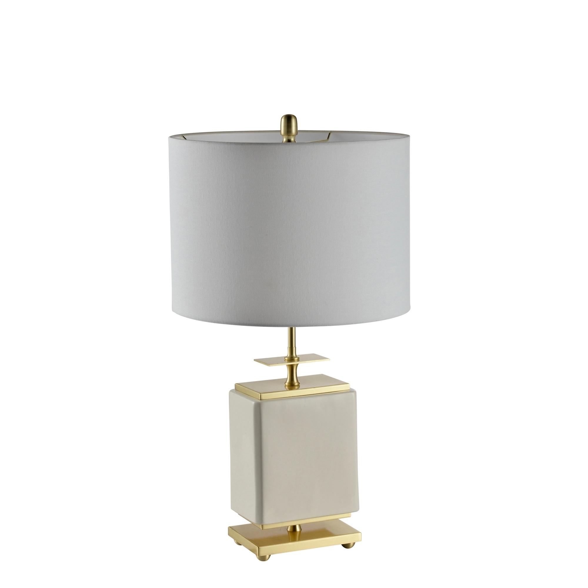 Ceramic Square Table Lamp White Gold 28 Overstock 25623637