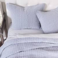 Harold Blue Velvet Quilt Set