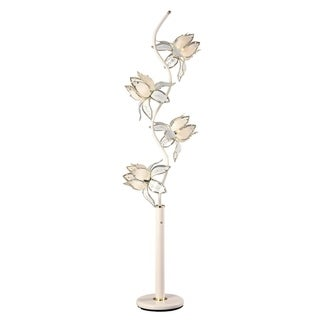 White Metal and Glass 73-inch High 4-light Traditional Floor Lamp