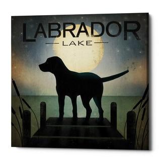 Epic Graffiti 'Moonrise Black Dog - Labrador Lake' by Ryan Fowler, Giclee Canvas Wall Art
