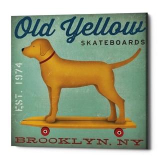 Epic Graffiti 'Golden Dog on Skateboard' by Ryan Fowler, Giclee Canvas Wall Art