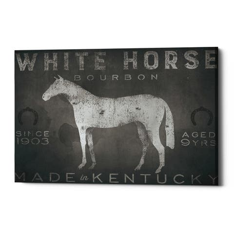 Carbon Loft 'White Horse with Words' by Ryan Fowler on Giclee Canvas