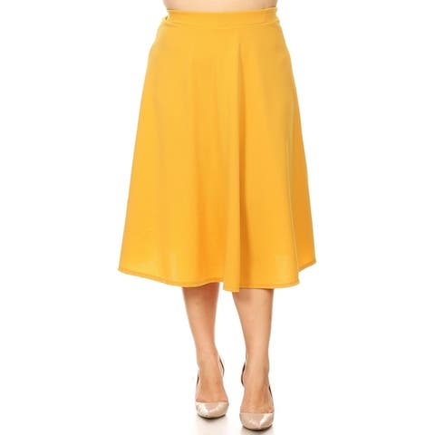 Women's Casual Basic Plus Size High Waist A-Line Mid-Length Skirt