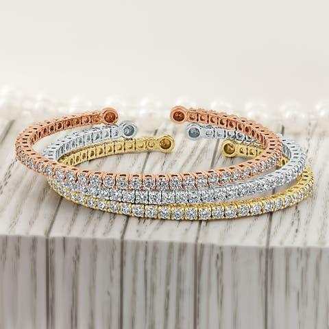 Auriya 2 1/2ctw Open Diamond Bangle Bracelet 14k Gold