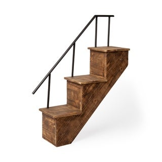 Mercana Page Brown Metal and Pine Wall Mount Staircase Shelf