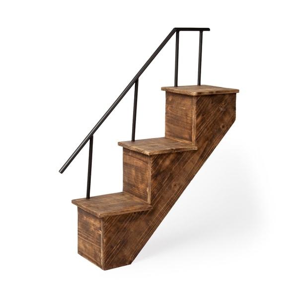 Mercana Page Brown Metal and Pine Wall Mount Staircase Shelf