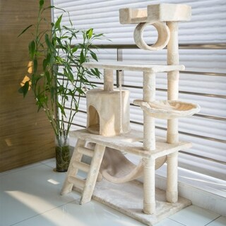 Kinbor Cat Tree Condo with Hammock Scratching Post Pad Kitty Play House Tower